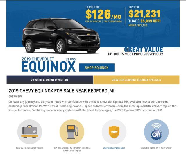 Chevy Equinox Spotlight Page